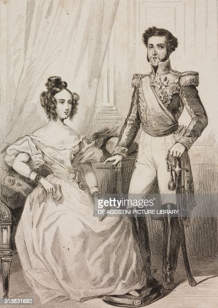 Queen Maria I and King Peter III of Portugal Portugal engraving by Lemaitre from Portugal by Ferdinand Denis L'Univers pittoresque published by...