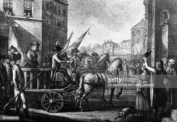 Queen Marie Antoinette being led to the guillotine October 16 engraving from late 18th century France 18th century