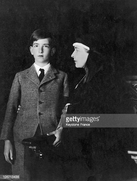 Queen Marie Of Romania And Her Eldest Son, King Peter Ii Of Yugoslavia, In 1935.