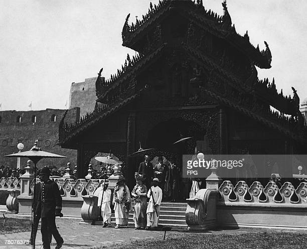 Queen Marie of Romania and Queen Mary of Great Britain visiting the Burmese pavillion at the British Empire Exhibition at Wembley London 1924...
