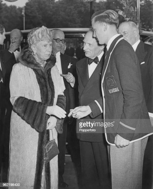 Queen Mary arriving at the Odeon cinema, Marble Arch for the premiere of Charles Crichton's Ealing comedy, 'The Lavender Hill Mob', 28th June 1951....
