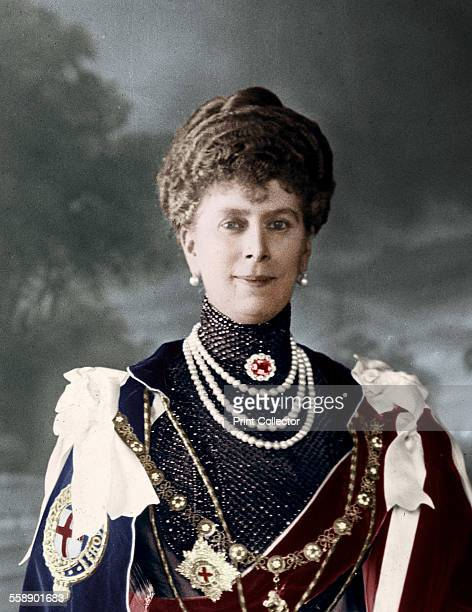 Queen Mary consort of King George V of the United Kingdom c1910s Queen Mary in Garter robes and insignia presented by the Marys of the Empire