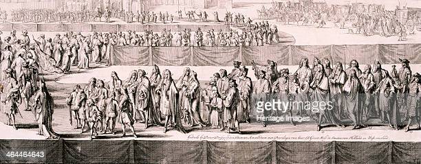 Queen Mary II's funeral, Westminster Abbey, London, 1695. Panoramic view of the funeral procession of Queen Mary II, 5th March showing members of the...