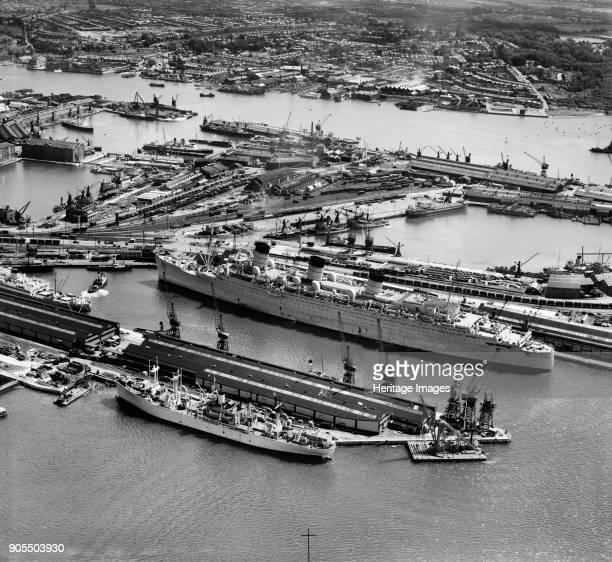 RMS 'Queen Mary' in Ocean Dock Southampton Hampshire 1946 Artist Aerofilms