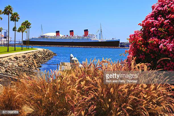 queen mary ocean liner at long beach, california - long beach california stock photos and pictures