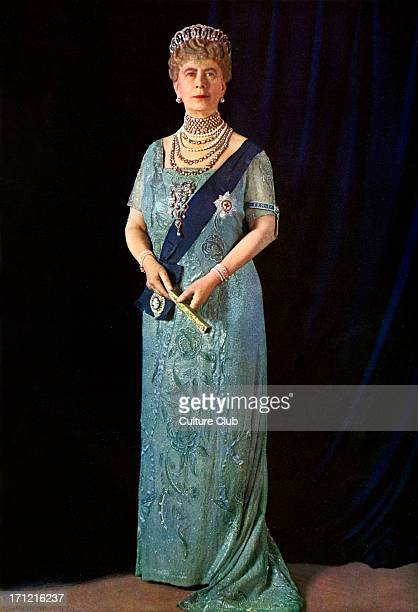 Queen Mary official portrait photograph of 1935 in sash and tiara holding fan Illustrated London News Silver Jubilee Colour photograph by Finlay...