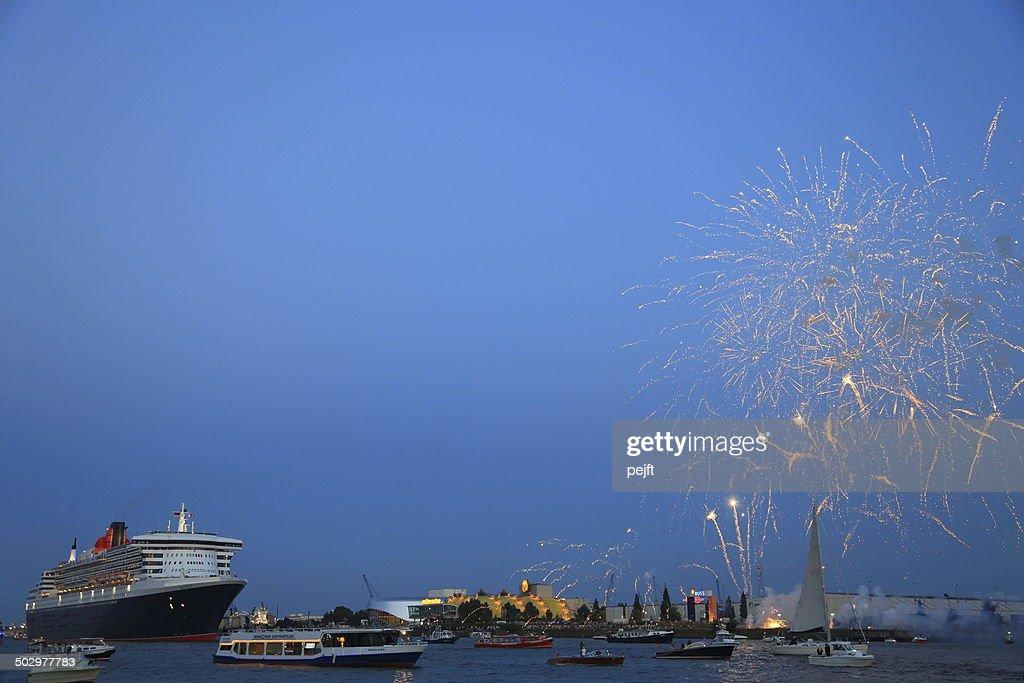Queen Mary - Passenger Liner in Hamburg Germany : Stock Photo
