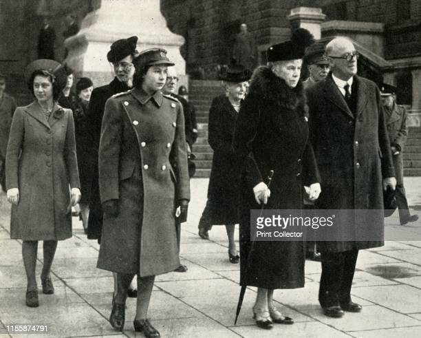 Queen Mary Princess Elizabeth Princess Margaret and the Duchess of Kent on Armistice Day 1945' Mary of Teck with her granddaughters the Princess...