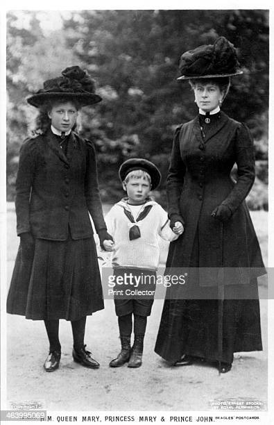 Queen Mary Princess Mary and Prince John 1910s Mary of Teck Queen Consort of King George V of the United Kingdom with her third child and eldest...