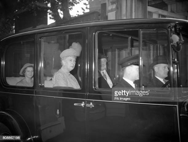Queen Mary, the widow of George V, arrives for the wedding of her grandson George Lascelles, 7th Earl of Harewood to Marion Stein at St Mark's...