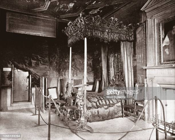 Queen Mary's Bedroom at Holyroodhouse, Edinburgh, Scotland, 1894. Bedchamber used by Mary Queen of Scots when she lived at the palace between...
