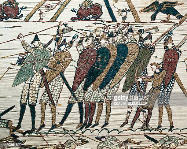 Queen Mathilda's Tapestry or Bayeux Tapestry depicting Norman conquest of England in 1066 detail France 11th century