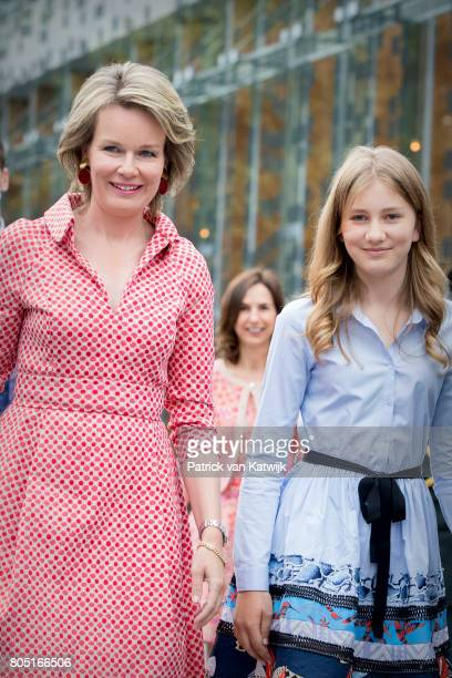 Queen Mathilde and Crown Princess Elisabeth of Belgium attend the 80th birthday celebrations of Belgian Queen Paola on June 29 2017 in Waterloo...