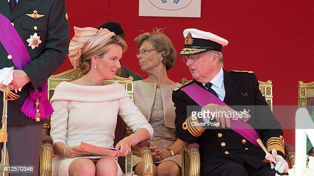 Queen Mathilde , and king Albert, pictured during the military parade of the troops of the Belgian Army on the Belgian National Day, Sunday 21 July...