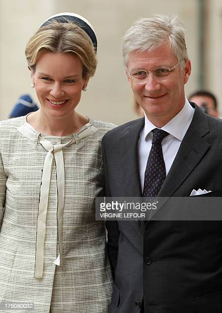 Queen Mathilde and King Philippe arrive for a mass on the occasion of the 20th anniversary of King Baudouin's death at the Saint Michael and Saint...