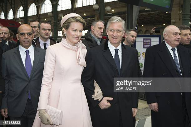 Queen Mathilde and King Philippe of Belgium , accompanied by French Junior Minister for Veterans, Kader Arif , arrive at the Gare du Nord train...