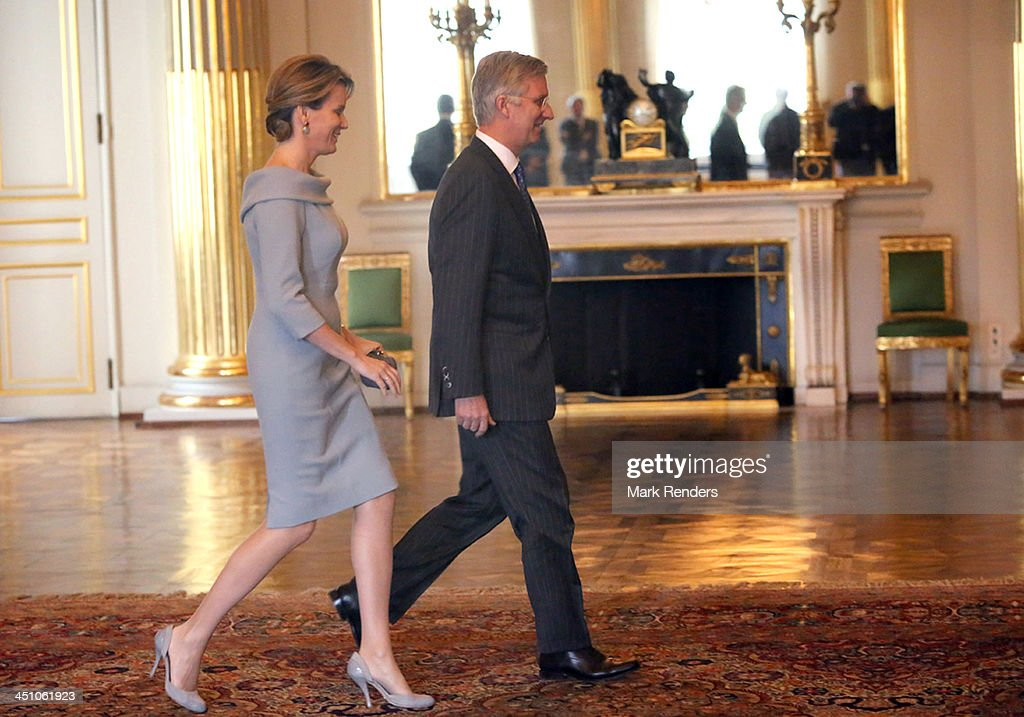 Queen Mathilde and King Philippe of Belgium arrive to meet the Governors of the Belgian Provinces at the Royal Palace on November 21, 2013 in Brussels, Belgium.