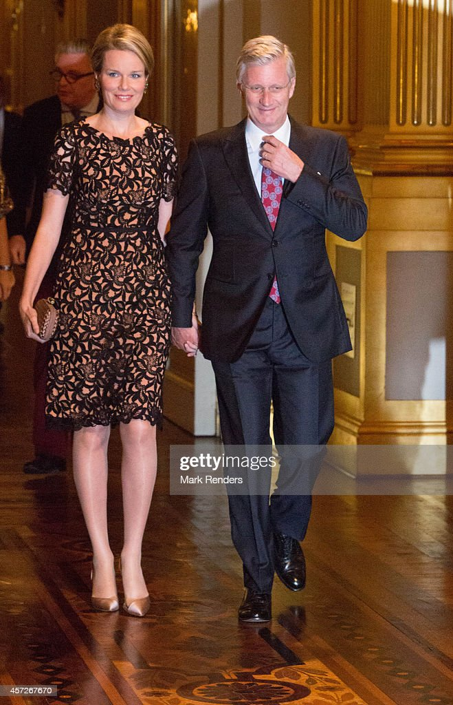 Queen Mathilde and King Philippe of Belgium assist the Autumn Concert at the Royal Palace on October 15, 2014 in Brussels, Belgium.