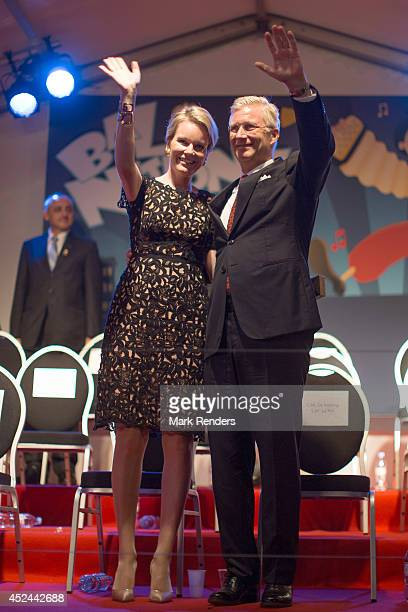 Queen Mathilde and King Philippe of Belgium assist the Bal National on July 20 2014 in Brussel Belgium