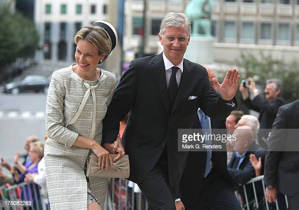 Queen Mathilde and King Philippe of Belgium attend a Mass for the 20th anniversary of King Baudouin's death at Cathedrale des Saints-Michel-et-Gudule...