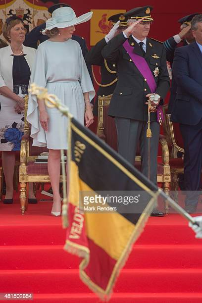 Queen Mathilde and King Philippe of Belgium during the National Day on July 21 2015 in Brussel Belgium