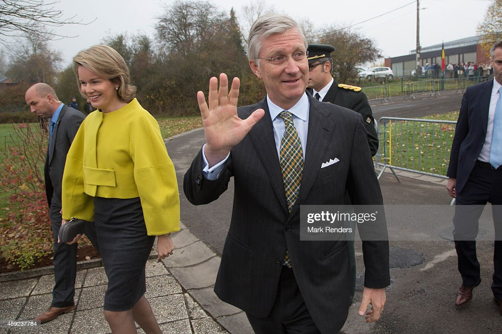 Queen Mathilde and King Philippe of Belgium visit Mathy by Bois in Couvin on November 19, 2014 in Namur, Belgium.