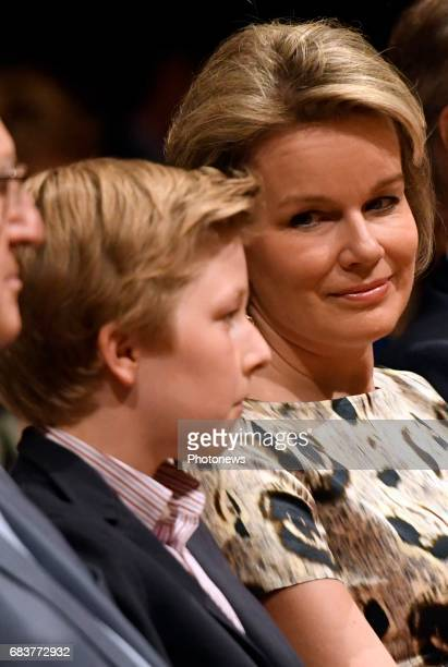 Queen Mathilde and Prince Emmanuel pictured attending the the sessions of the 2017 Queen Elisabeth Cello Competition