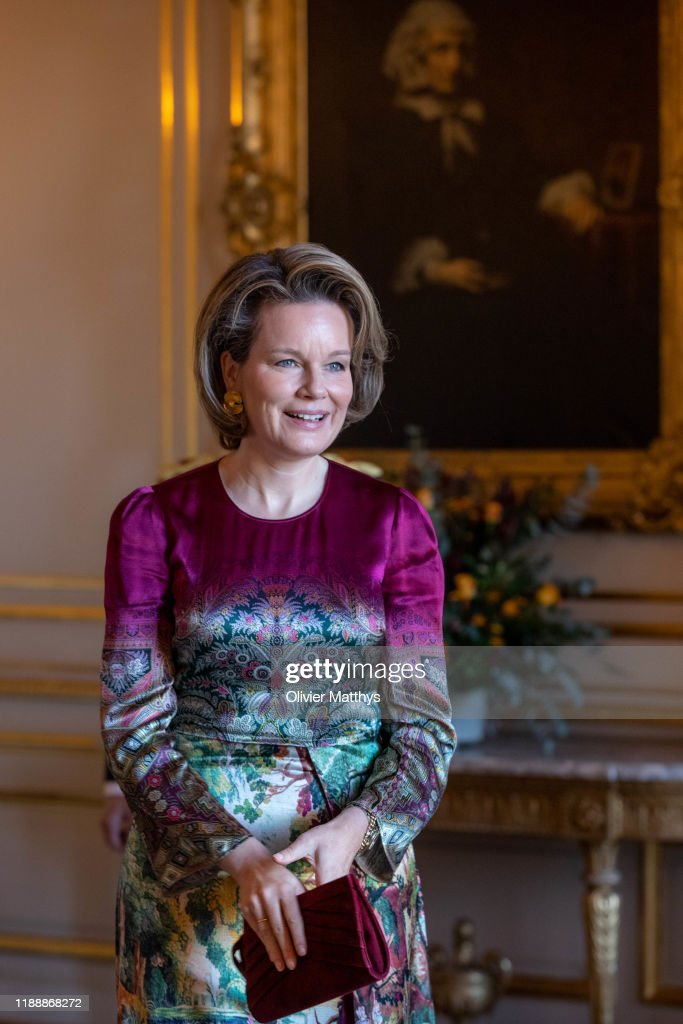 King Philippe Of Belgium And Queen Mathilde Of Belgium Receive The new Purveyors To The Court At The Royal Palace In Brussels : News Photo