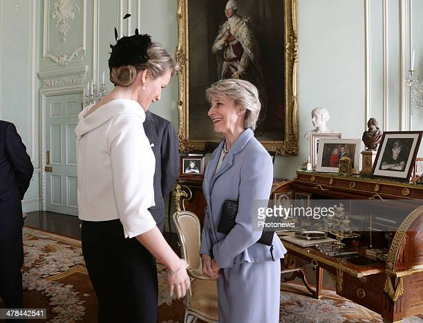 Queen Mathilde is greeted by the Duchess of Gloucester at Buckingham Palace London King Philippe and Queen Mathilde of Belgium are on an official one...