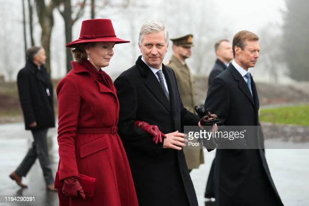 Queen Mathilde King Philippe of Belgium and Henri Grand Duke of Luxembourg attend the 75th Battle of the Bulge anniversary remembrance ceremony on...