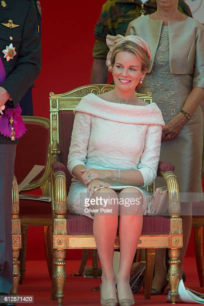 Queen Mathilde mathilde, pictured during the military parade of the troops of the Belgian Army on the Belgian National Day, Sunday 21 July 2013....