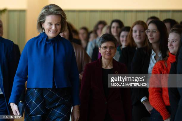 Queen Mathilde of Belgium and Antwerp province governor Cathy Berx pictured during a royal visit to an event organised by Antwerp Management School...