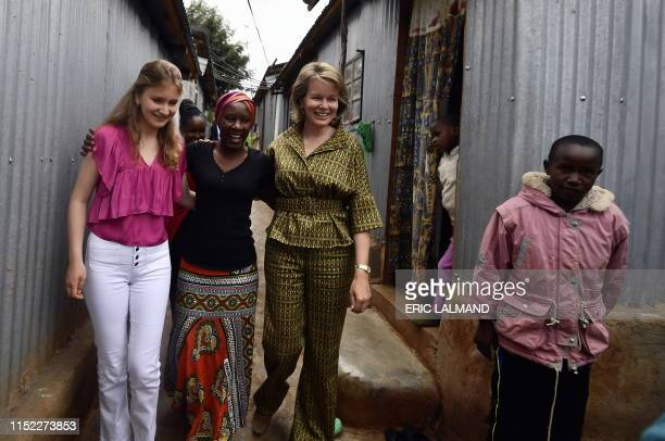 Queen Mathilde of Belgium and Crown Princess Elisabeth pictured at a visit to Community Households in Dagoretti western part of Nairobi Kenya...