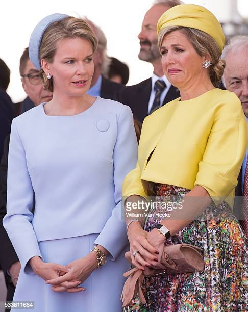 Queen Mathilde of Belgium and Dutch Queen Maxima pictured during a ceremony as part of the events marking the 70th anniversary of the World War II...