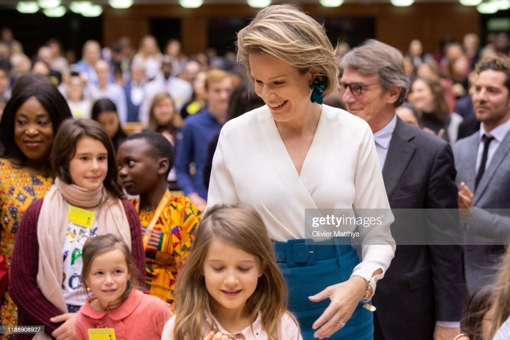 Queen Mathilde Of Belgium Delivers A Speech At The 30th Anniversary Of The UN Convention On The Rights Of The Child In Europe : News Photo