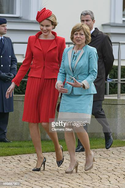 Queen Mathilde of Belgium and German First Lady Daniela Schadt talk during a visit to German President Joachim Gauck at Bellevue Palace on February...