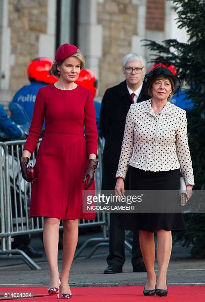 Queen Mathilde of Belgium and German President partner Daniela Schadt walk during a visit to the Germanspeaking town of Eupen on the last day of...
