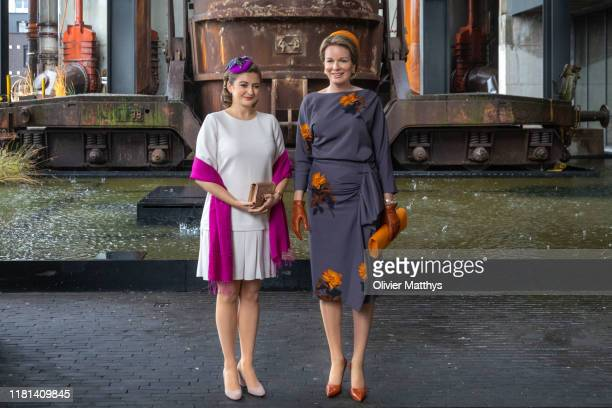 Queen Mathilde of Belgium and Hereditary Grand Duchess Stephanie de Lannoy of Luxembourg visit Belval Science City on October 16, 2019 in Luxembourg,...