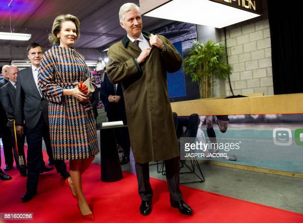 Queen Mathilde of Belgium and King Philippe Filip of Belgium are pictured during a visit to Videohouse a media facilities company in Vilvoorde on...