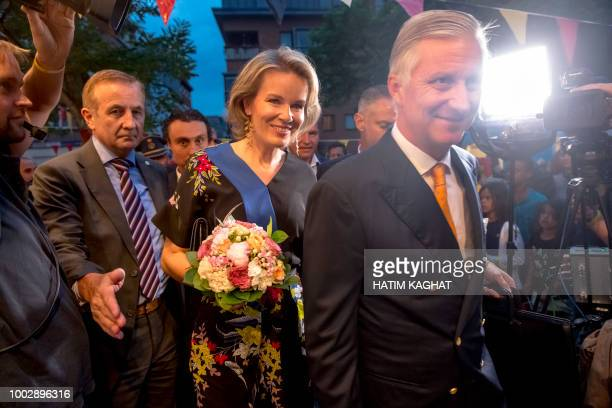 Queen Mathilde of Belgium and King Philippe Filip of Belgium arrive for a royal visit to the Bal National festivities an evening of concerts on the...