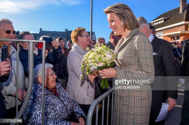 Queen Mathilde of Belgium and King Philippe - Filip of Belgium arrive for a visit of Belgian Royal couple in Antwerp province, with a social and...