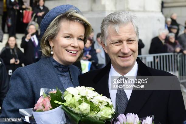 Queen Mathilde of Belgium and King Philippe Filip of Belgium pictured after a special Mass to commemorate the deceased members of the Belgian Royal...