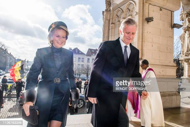 Queen Mathilde of Belgium and King Philippe Filip of Belgium pictured during a special Mass to commemorate the deceased members of the Belgian Royal...