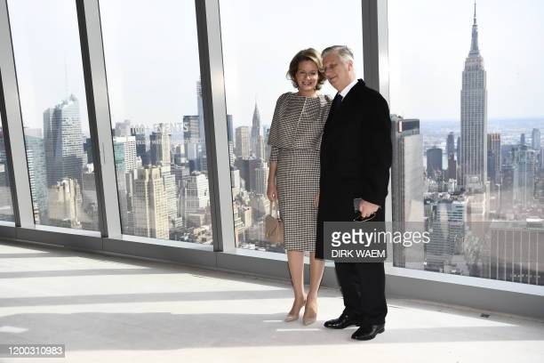 Queen Mathilde of Belgium and King Philippe - Filip of Belgium pose for the photographer on the top floor of a skyscraper, after a royal visit to the...