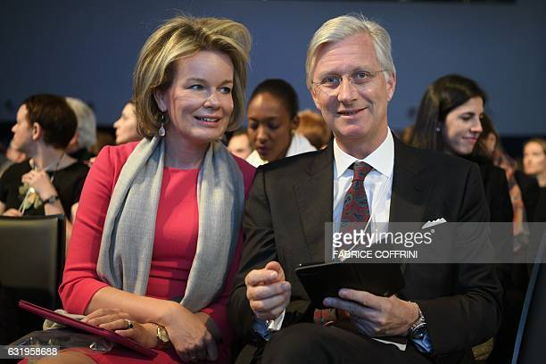 Queen Mathilde of Belgium and King Philippe of Belgium are seen on second day of the World Economic Forum on January 18 2017 in Davos With the...