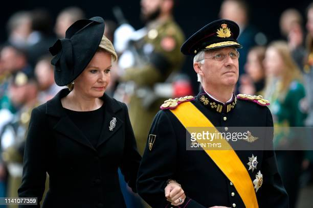 TOPSHOT Queen Mathilde of Belgium and King Philippe of Belgium arrive for the funeral ceremony of Jean d'Aviano Grand Duke of Luxembourg on May 4 in...