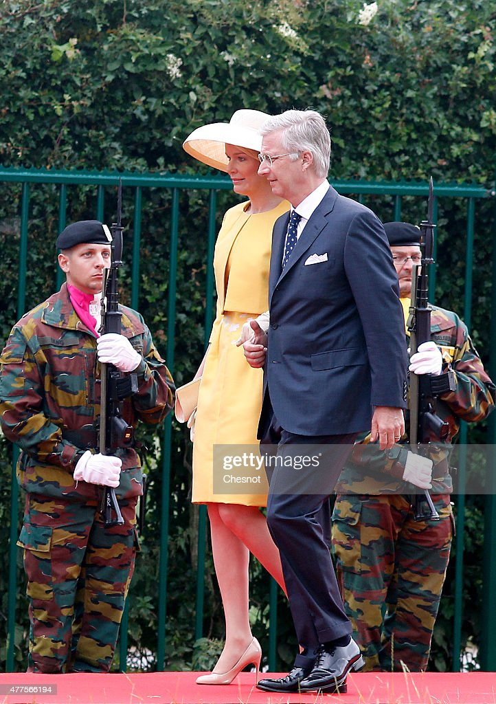 Queen Mathilde of Belgium and King Philippe of Belgium arrive for the Belgian federal government ceremony to commemorate the bicentenary of the Battle of Waterloo on June 18, 2015 in Waterloo, Belgium. The ceremony is at the start of three days of official events marking the 200th anniversary of the Battle of Waterloo during which around 5000 historical re-enactors from around the world will take part in events culminating in a re-enactment of the allied defeat of Napoleon's army on June 20th. The 1815 battle saw the overthrow of Napoleon Bonaparte and the restoration of Louis XVIII to the French throne.