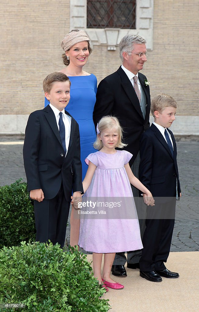 Queen Mathilde of Belgium and King Philippe of Belgium arrive with children (from L) Prince Gabriel, Princess Eleonore and Prince Emmanuel at the Wedding Of Prince Amedeo Of Belgium And Elisabetta Maria Rosboch Von Wolkenstein at Basilica Santa Maria in Trastevere on July 5, 2014 in Rome, Italy.