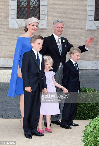 Queen Mathilde of Belgium and King Philippe of Belgium arrive with children Prince Gabriel Princess Eleonore and Prince Emmanuel at the wedding of...
