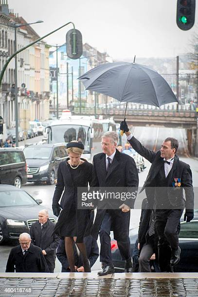 Queen Mathilde of Belgium and King Philippe of Belgium attend the funeral of Queen Fabiola of Belgium at Notre Dame Church on December 12, 2014 in...